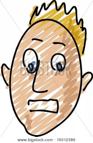 Surprised facial expression on man's face, sketch illustration vector
