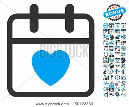 Love Day pictograph with bonus calendar and time management pictograph collection. Vector illustration style is flat iconic bicolor symbols, blue and gray colors, white background.