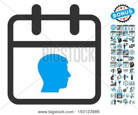 Personal Day pictograph with bonus calendar and time management pictograph collection. Vector illustration style is flat iconic bicolor symbols, blue and gray colors, white background.