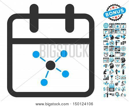 Scheme Day pictograph with bonus calendar and time management pictograph collection. Vector illustration style is flat iconic bicolor symbols, blue and gray colors, white background.