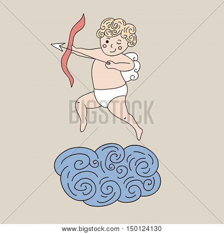 Cute angel on cloud. Vector hand drawn illustration with sleeping angel. Cartoon character angel archery
