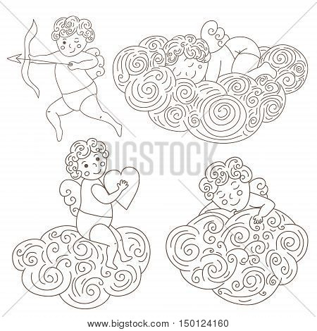 Set of four hand drawn sleeping angels on clouds. Outline angels isolated object. Vector Illustration