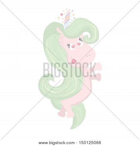 Cute beautiful Unicorn isolated on white. Magic unicorn icon. Hand drawn unicorn is perfect for t-shirt design fabric textile