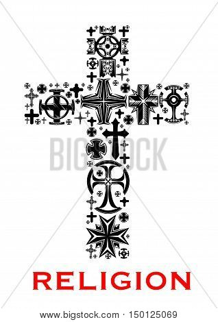 Cross black silhouette, composed of christian, celt, catholic and orthodox religious symbols, crosses and crucifix. Religion, church and faith themes design