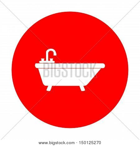 Bathtub Sign Illustration. White Icon On Red Circle.