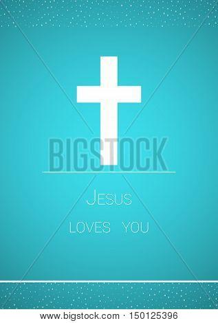 Christian Cross On Blue Background