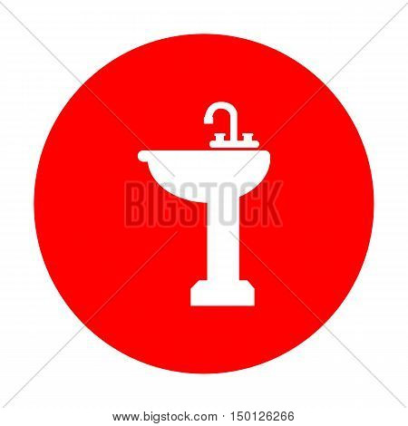 Bathroom Sink Sign. White Icon On Red Circle.