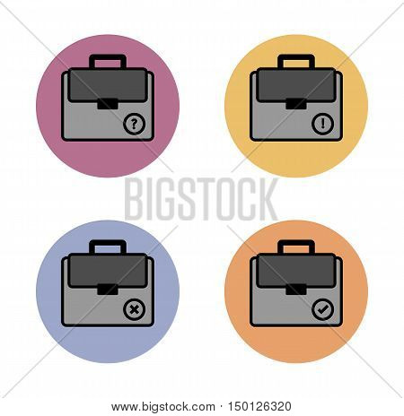 Briefcase Simple Flat Icon In Color Circle