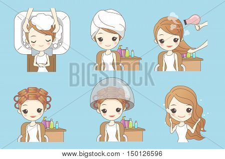cartoon woman doing hair salon great for your design