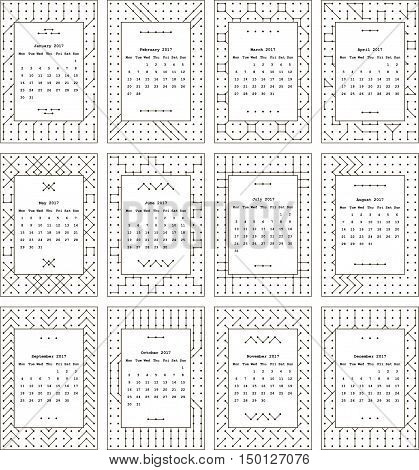 Calendar for two thousand seventeenth year. Separately every month. The pattern of dots and lines. Black-and-white.