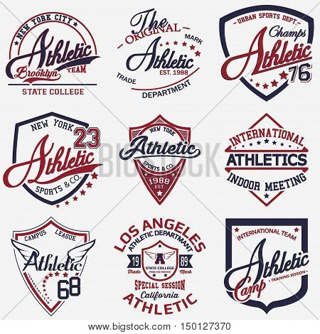 Set of nine Sport t-shirt graphic design Sport print stamp Athletic sports wear typography emblem Creative design Vector
