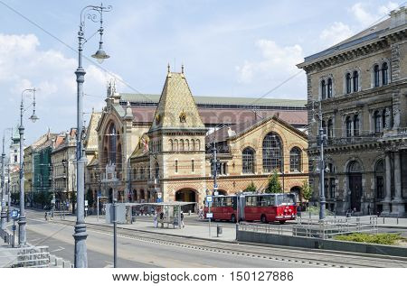 BUDAPEST, AUGUST 9: Street with beautiful old buildings on August 9, 2015 in Budapest, Hungary. Budapest is full of beautiful historic buildings.