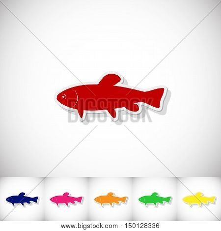 Fish tench. Flat sticker with shadow on white background. Vector illustration