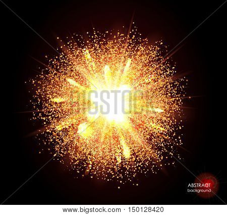 Explosion of supernova. Bright cosmic yellow fire background. Glowing space. Bundle of energy. Cloud of dust and light on black. Fireworks, holiday.  Abstract composition. Vector illustration EPS10