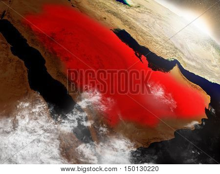 Saudi Arabia From Space Highlighted In Red
