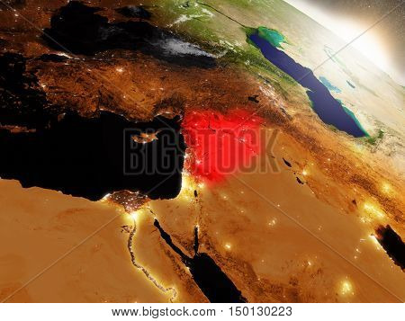 Syria From Space Highlighted In Red