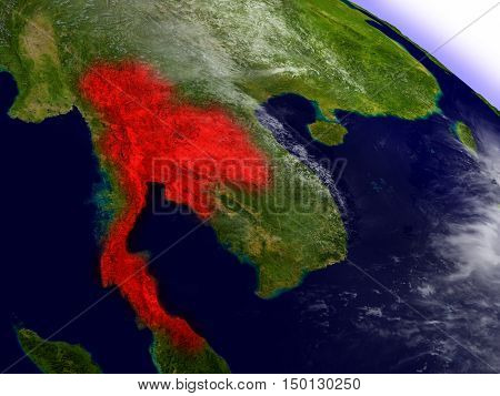 Thailand From Space Highlighted In Red