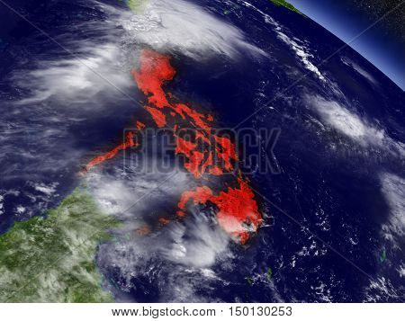 Philippines From Space Highlighted In Red