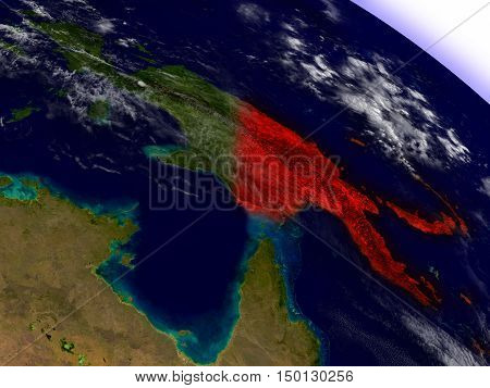 Papua New Guinea From Space Highlighted In Red