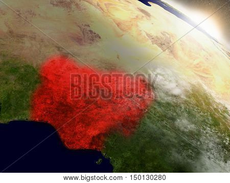 Nigeria From Space Highlighted In Red