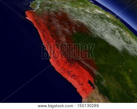 Peru From Space Highlighted In Red