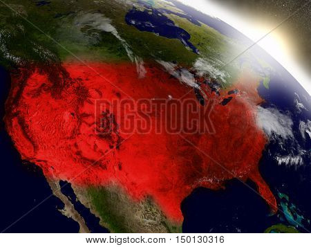 Usa From Space Highlighted In Red
