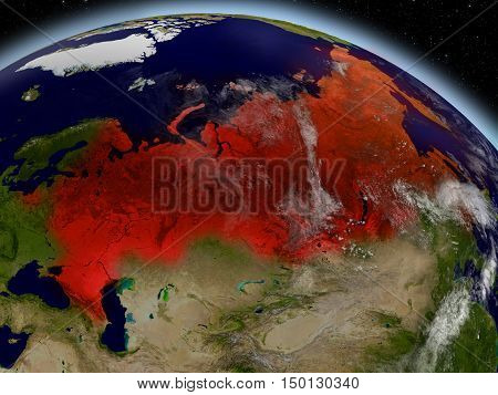 Russia From Space Highlighted In Red