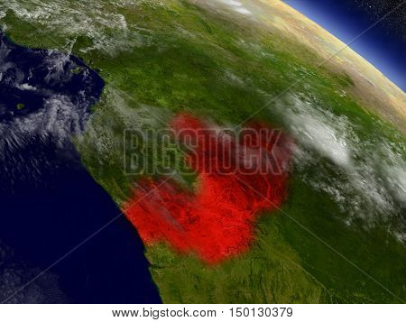 Congo From Space Highlighted In Red