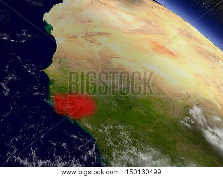 Guinea-bissau From Space Highlighted In Red