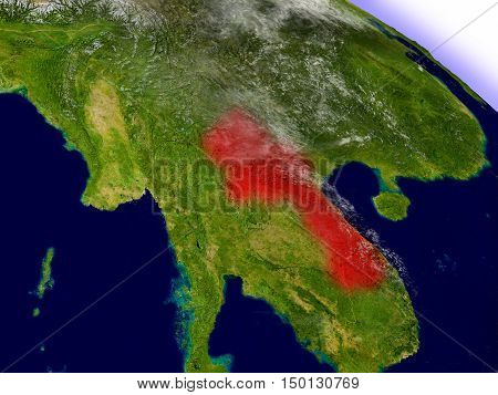 Laos From Space Highlighted In Red