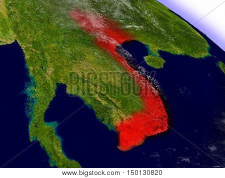 Vietnam From Space Highlighted In Red