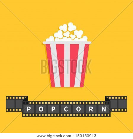 Popcorn. Big film strip ribbon line with text. Red white box. Cinema movie night icon in flat design style. Yellow background. Vector illustration