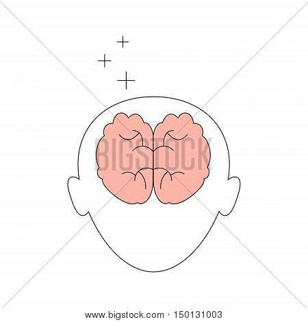 Head with brain icon. Vector isolated linear flat