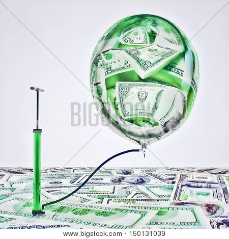 Inflating money. The pump inflates the balloon with the image of money. 3D illustration
