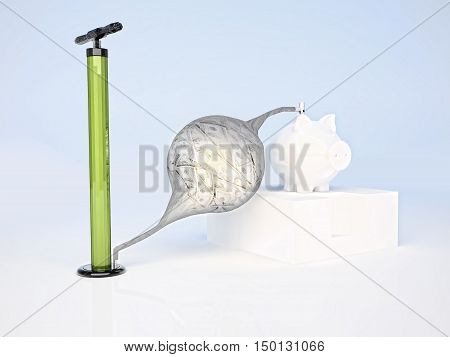 The pump is pumping dollars into the piggy Bank. 3D illustration