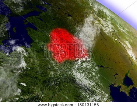 Belarus From Space Highlighted In Red