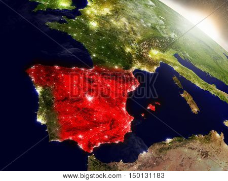 Spain From Space Highlighted In Red