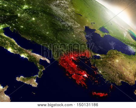 Greece From Space Highlighted In Red