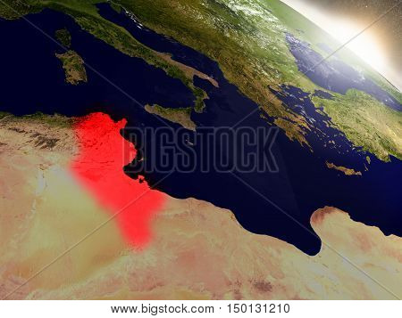 Tunisia From Space Highlighted In Red