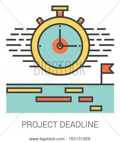 Project deadline infographic metaphor with line icons. Project deadline concept for website and infographics. Vector line art icon isolated on white background.