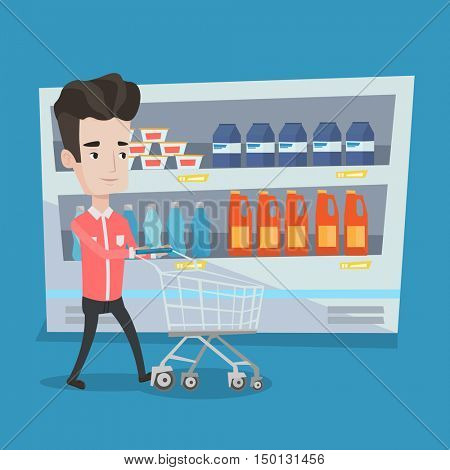 Young man pushing an empty supermarket cart. Customer shopping at supermarket with cart. Caucasian man walking with trolley on aisle at supermarket. Vector flat design illustration. Square layout.