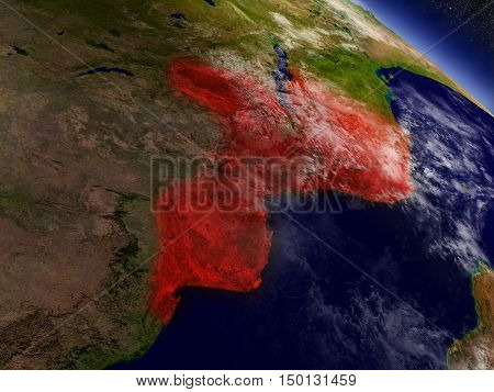 Mozambique From Space Highlighted In Red