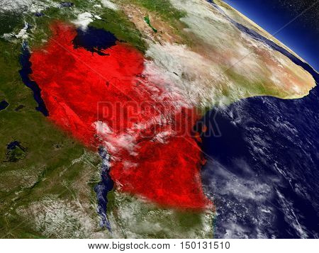 Tanzania From Space Highlighted In Red