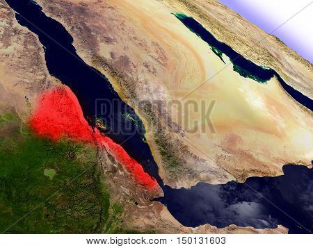 Eritrea From Space Highlighted In Red