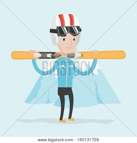 Smiling caucasian man carrying skis. Sportsman standing with skis on his shoulders on the background of snow capped mountain. Young man skiing. Vector flat design illustration. Square layout.