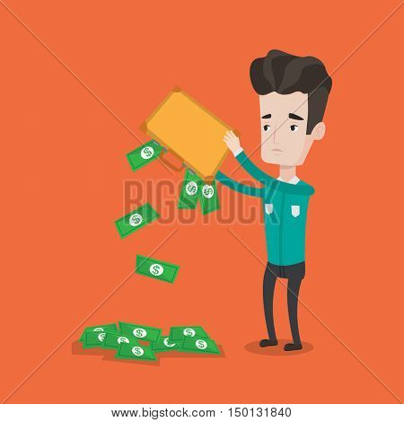 Depressed caucasian businessman shaking out money from his briefcase. Despaired businessman emptying a briefcase with his savings. Bankruptcy concept. Vector flat design illustration. Square layout.