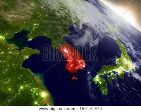 South Korea From Space Highlighted In Red