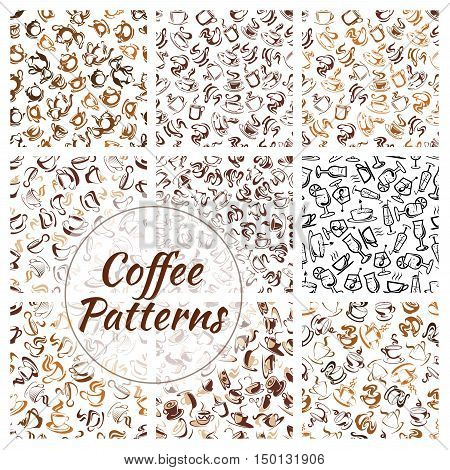 Natural coffee drinks seamless pattern set of brown coffee cup, mug and pot, saucer and spoon, decorated by coffee beans and swirling steam on white background
