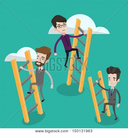 Business people climbing the ladders. Businessmen climbing on the cloud. Businessmen climbing to success. Concept of success, competition in business. Vector flat design illustration. Square layout.