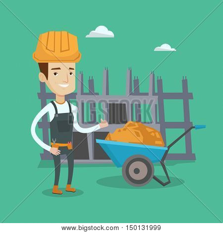 Young cheerful builder in hard hat giving thumb up. A builder with thumb up standing on a background of construction site with wheelbarrow full of sand. Vector flat design illustration. Square layout.